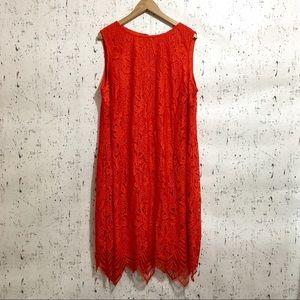 Sharagano Dresses - Sharagano Scallop Lace Sleeveless Midi Dress